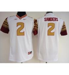 Florida State Seminoles 2 Deion Sanders White College Football Jersey