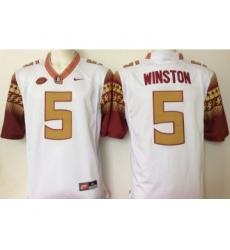 Florida State Seminoles (FSU) 5 Jameis Winston White College Football Jersey
