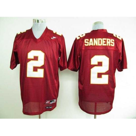 Seminoles #2 Deion Sanders Red Embroidered NCAA Jersey