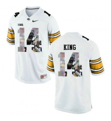 Iowa Hawkeyes #14 Desmond King White With Portrait Print College Football Jersey