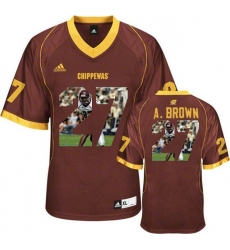 Central Michigan Chippewas #27 Antonio Brown Red With Portrait Print College Football Jersey2