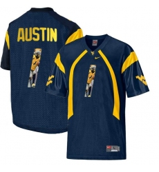 West Virginia Mountaineers #1 Tavon Austin Navy With Portrait Print College Football Jersey