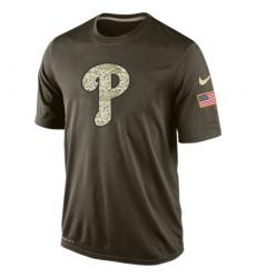 MLB Men's Philadelphia Phillies Nike Olive Salute To Service KO Performance T-Shirts