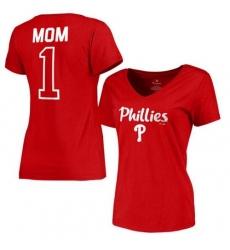 MLB Philadelphia Phillies Women's 2017 Mother's Day #1 Mom V-Neck T-Shirt - Red