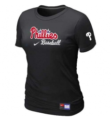 MLB Women's Philadelphia Phillies Nike Practice T-Shirt - Black