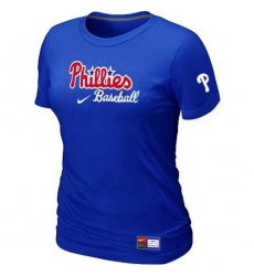MLB Women's Philadelphia Phillies Nike Practice T-Shirt - Blue