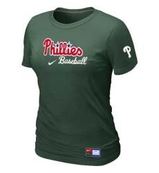 MLB Women's Philadelphia Phillies Nike Practice T-Shirt - Dark Green