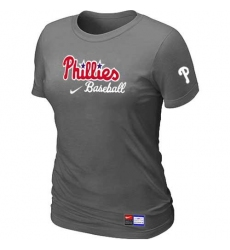 MLB Women's Philadelphia Phillies Nike Practice T-Shirt - Dark Grey