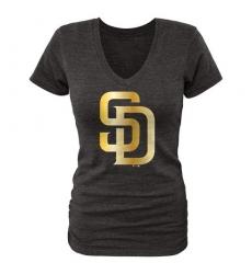 MLB San Diego Padres Fanatics Apparel Women's Gold Collection V-Neck Tri-Blend T-Shirt - Grey
