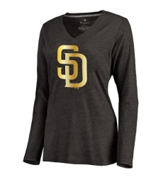 MLB San Diego Padres Women's Gold Collection Long Sleeve V-Neck Tri-Blend T-Shirt - Grey