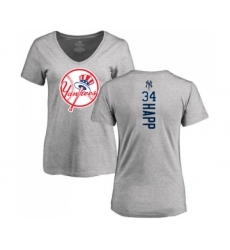 Baseball Women's New York Yankees #34 J.A. Happ Ash Backer T-Shirt