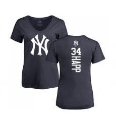 Baseball Women's New York Yankees #34 J.A. Happ Navy Blue Backer T-Shirt