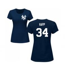 Baseball Women's New York Yankees #34 J.A. Happ Navy Blue Name & Number T-Shirt