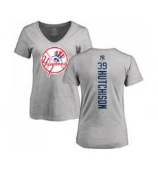 Baseball Women's New York Yankees #39 Drew Hutchison Ash Backer T-Shirt