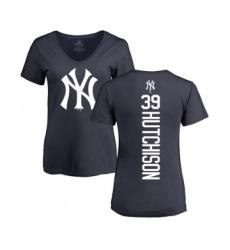 Baseball Women's New York Yankees #39 Drew Hutchison Navy Blue Backer T-Shirt