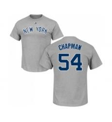 MLB Nike New York Yankees #54 Aroldis Chapman Gray Name & Number T-Shirt