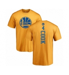 NBA Nike Golden State Warriors #4 Quinn Cook Gold One Color Backer T-Shirt