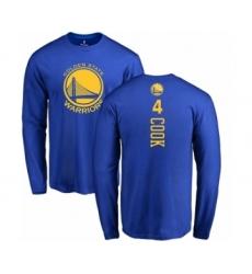 NBA Nike Golden State Warriors #4 Quinn Cook Royal Blue Backer Long Sleeve T-Shirt