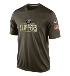 NBA Men's Los Angeles Clippers Nike Olive Salute To Service KO Performance Dri-FIT T-Shirt