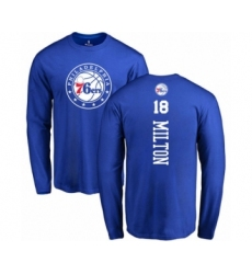 Basketball Philadelphia 76ers #18 Shake Milton Royal Blue Backer Long Sleeve T-Shirt