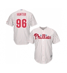 Men's Philadelphia Phillies #96 Tommy Hunter Replica White Red Strip Home Cool Base Baseball Jersey
