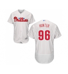 Men's Philadelphia Phillies #96 Tommy Hunter White Home Flex Base Authentic Collection Baseball Jersey