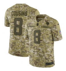 Men's Nike Minnesota Vikings #8 Kirk Cousins Limited Camo 2018 Salute to Service NFL Jers