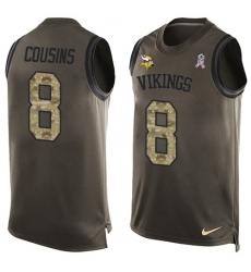Men's Nike Minnesota Vikings #8 Kirk Cousins Limited Green Salute to Service Tank Top NFL Jersey