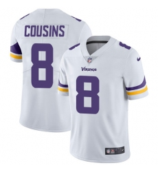 Men's Nike Minnesota Vikings #8 Kirk Cousins White Vapor Untouchable Limited Player NFL Jersey