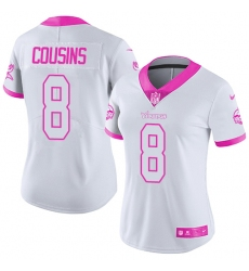 Women's Nike Minnesota Vikings #8 Kirk Cousins Limited White Pink Rush Fashion NFL Jersey