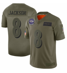 Men's Baltimore Ravens #8 Lamar Jackson Limited Camo 2019 Salute to Service Football Jersey