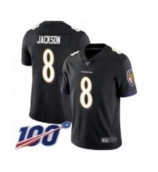 Men's Nike Baltimore Ravens #8 Lamar Jackson Black Alternate Vapor Untouchable Limited Player 100th Season NFL Jersey