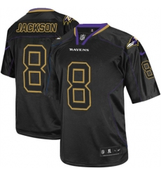 Men's Nike Baltimore Ravens #8 Lamar Jackson Elite Lights Out Black NFL Jersey