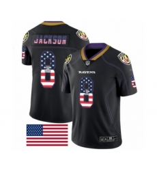 Men's Nike Baltimore Ravens #8 Lamar Jackson Limited Black Rush USA Flag NFL Jersey