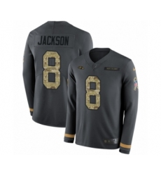Men's Nike Baltimore Ravens #8 Lamar Jackson Limited Black Salute to Service Therma Long Sleeve NFL Jersey