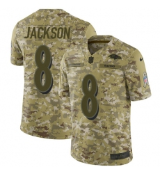 Men's Nike Baltimore Ravens #8 Lamar Jackson Limited Camo 2018 Salute to Service NFL Jersey