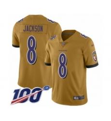 Men's Nike Baltimore Ravens #8 Lamar Jackson Limited Gold Inverted Legend 100th Season NFL Jersey