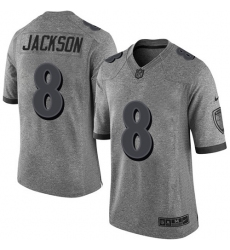 Men's Nike Baltimore Ravens #8 Lamar Jackson Limited Gray Gridiron NFL Jersey