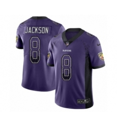Men's Nike Baltimore Ravens #8 Lamar Jackson Limited Purple Rush Drift Fashion NFL Jersey