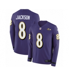 Men's Nike Baltimore Ravens #8 Lamar Jackson Limited Purple Therma Long Sleeve NFL Jersey
