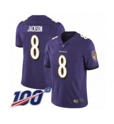 Men's Nike Baltimore Ravens #8 Lamar Jackson Purple Team Color Vapor Untouchable Limited Player 100th Season NFL Jersey