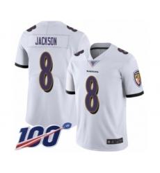 Men's Nike Baltimore Ravens #8 Lamar Jackson White Vapor Untouchable Limited Player 100th Season NFL Jersey