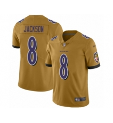 Women's Baltimore Ravens #8 Lamar Jackson Limited Gold Inverted Legend Football Jersey