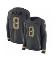 Women's Nike Baltimore Ravens #8 Lamar Jackson Limited Black Salute to Service Therma Long Sleeve NFL Jersey