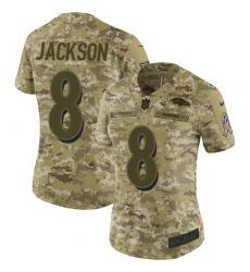 Women's Nike Baltimore Ravens #8 Lamar Jackson Limited Camo 2018 Salute to Service NFL Jersey