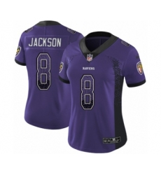 Women's Nike Baltimore Ravens #8 Lamar Jackson Limited Purple Rush Drift Fashion NFL Jersey