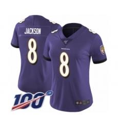 Women's Nike Baltimore Ravens #8 Lamar Jackson Purple Team Color Vapor Untouchable Limited Player 100th Season NFL Jersey