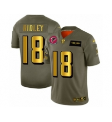 Men's Atlanta Falcons #18 Calvin Ridley Limited Olive Gold 2019 Salute to Service Football Jersey