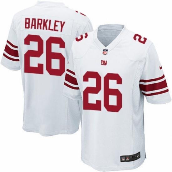 Men's Nike New York Giants #26 Saquon Barkley Game White NFL Jersey