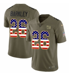 Men's Nike New York Giants #26 Saquon Barkley Limited Olive USA Flag 2017 Salute to Service NFL Jersey
